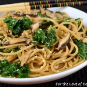 Sesame Noodles with Sautéed Shiitake Mushrooms and Kale
