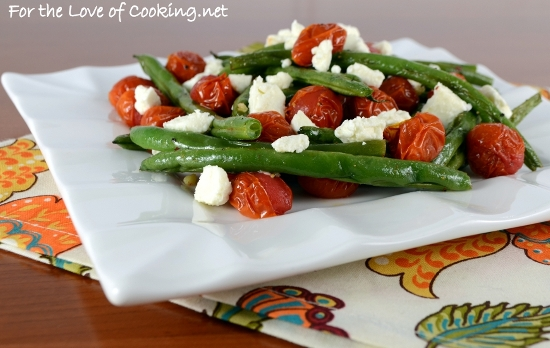 Roasted Green Beans and Tomatoes Topped with Feta