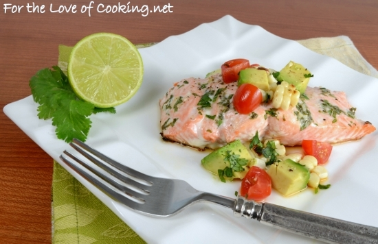 Lime & Cilantro Salmon with Grilled Corn and Avocado Salsa