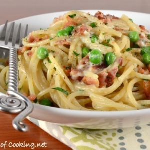 Pasta Carbonara with Bacon and Peas