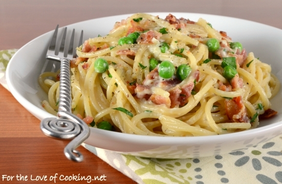 Pasta Carbonara with Bacon and Peas | For the Love of Cooking