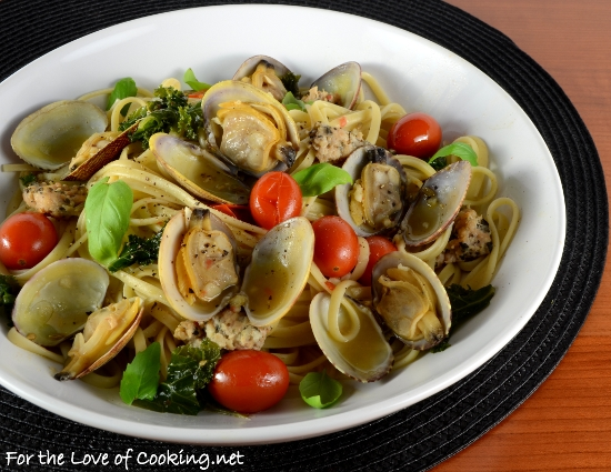 Linguine with Clams, Chicken Basil Sausage, Tomatoes, and Kale