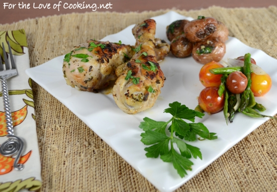 Roasted Herb Chicken Drumsticks with Lemon and Garlic
