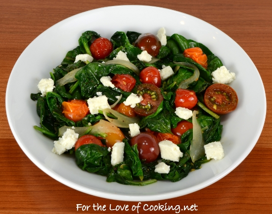 Lemony Spinach Sauté with Heirloom Tomatoes and Feta Cheese