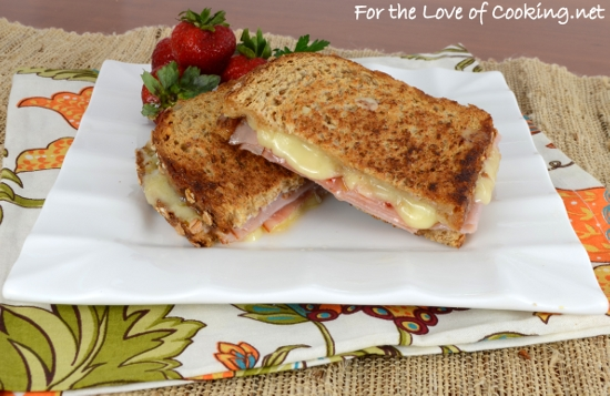 Brie, Ham, and Spicy Mango Jelly Grilled Cheese Sandwich