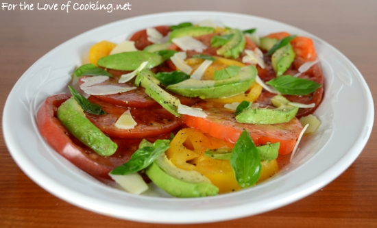 Sliced Heirloom Tomato and Avocado Salad with Basil and ...
