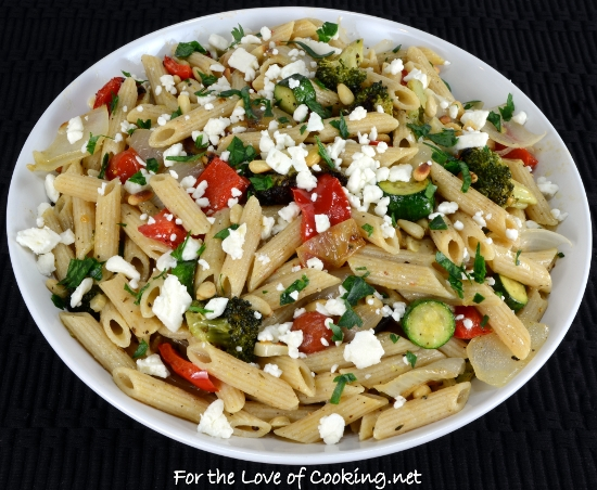 Roasted Veggie Pasta Salad with Lemon and Feta | For the Love of ...