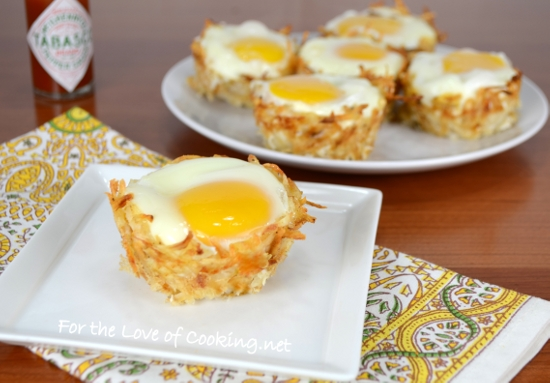 Hash Brown Nests with Egg, Ham, and Sharp Cheddar | For the Love of ...