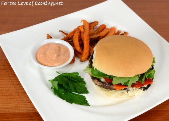 Roasted Portobello Burgers with Roasted Bell Pepper and Boursin Cheese