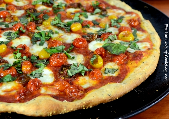 Roasted Tomato Pizza With Fresh Basil And Homemade Pizza Sauce For The Love