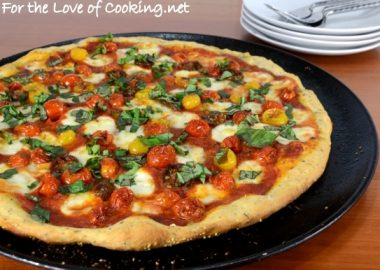 Roasted Tomato Pizza with Fresh Basil and Homemade Pizza Sauce