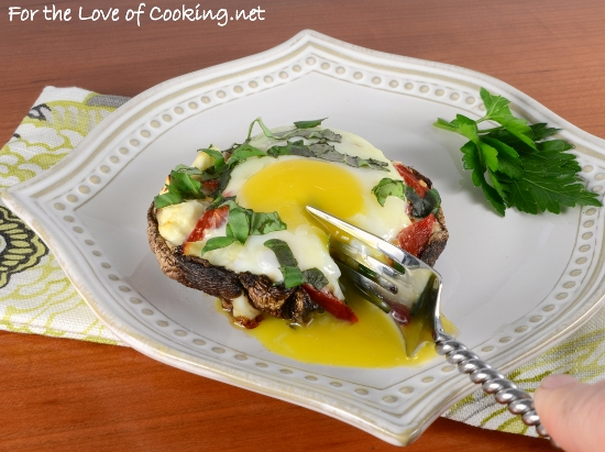 Egg, Roasted Pepper, and Feta Stuffed Portobello