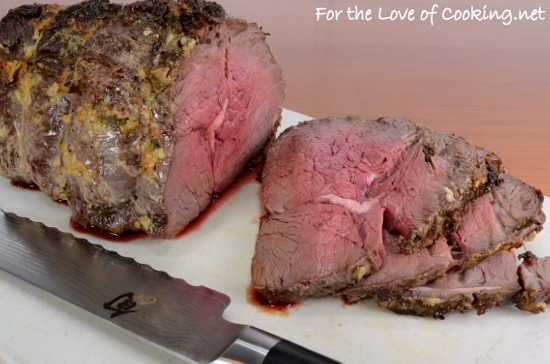 Slow Roasted Roast Beef With Mustard Garlic And Thyme