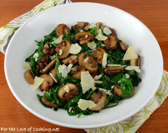 Mushroom and Spinach Sauté with Shaved Parmesan