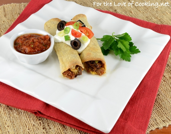 Baked Shredded Beef, Bean, Extra Sharp Cheddar and Jalapeno Taquitos