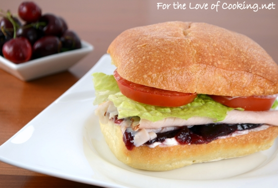 Turkey, Cranberry, and Cream Cheese on Toasted Ciabatta