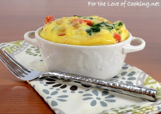 Baked Mini Frittata with Sautéed Spinach, Tomatoes, and Onion with Extra Sharp White Cheddar