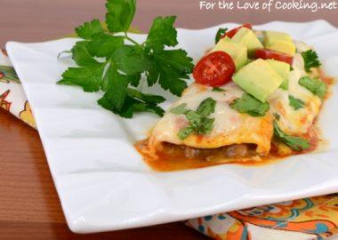 Bean and Cheese Enchiladas with Homemade Enchilada Sauce