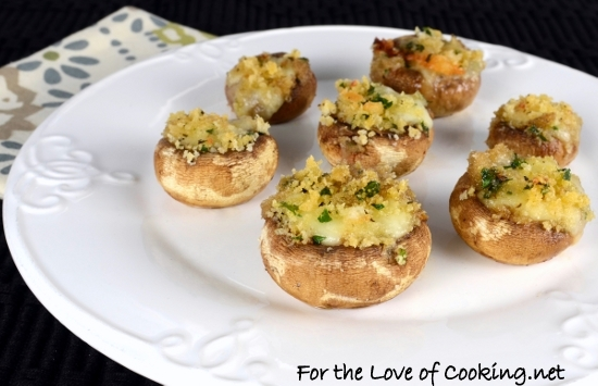 'Brie Stuffed Mushrooms Topped with Garlicky Panko