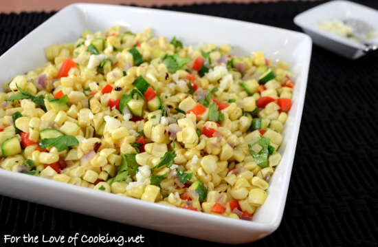 Corn Sauté with Zucchini and Bell Pepper | For the Love of Cooking