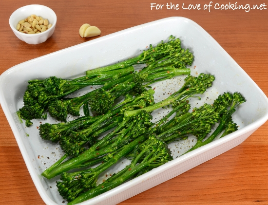 Roasted Broccolini with Garlic, Pine Nuts, and Parmesan
