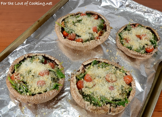Roasted Portobello Mushroom Stuffed with Spinach and Tomatoes