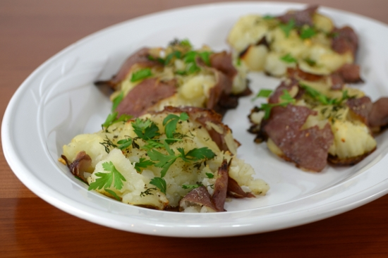 Roasted Smashed Herb Potatoes