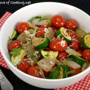 Zucchini and Tomato Sauté with Cotija Cheese and Cilantro