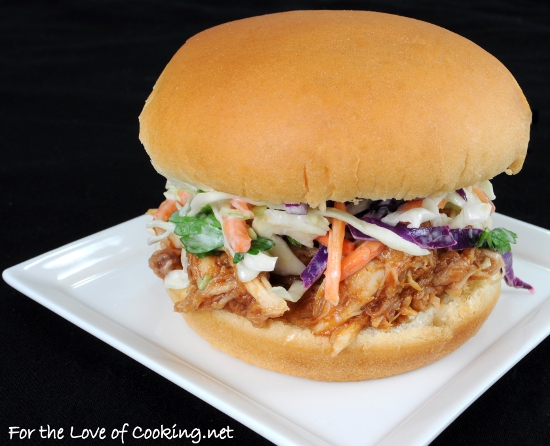 Barbecue Chicken Sandwiches with Cole Slaw