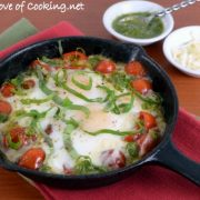 Baked Caprese Eggs with Pesto