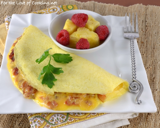 Sharp Cheddar and Bacon Omelette | For the Love of Cooking
