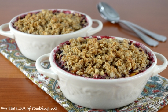 Blackberry, Peach, and Plum Crisp | For the Love of Cooking