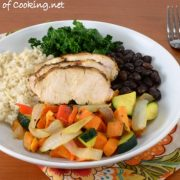 Rice Bowl with Spicy Chicken, Roasted Sweet Potatoes & Vegetables, Black Beans, and Kale