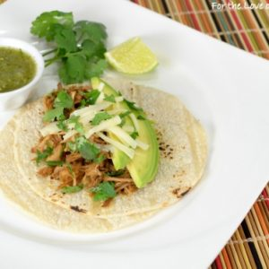 Spicy Shredded Pork Tacos with Avocado