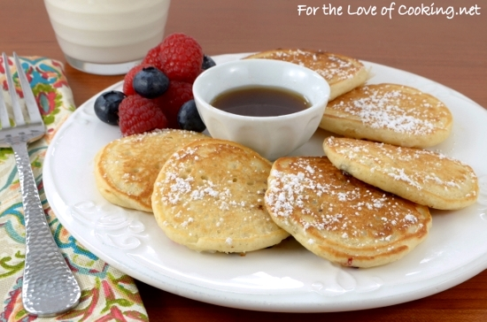 Mini Pancakes with Fruit, Coconut, and Chocolate