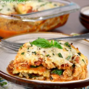 Ravioli Lasagna with Chicken Italian Sausage and Spinach