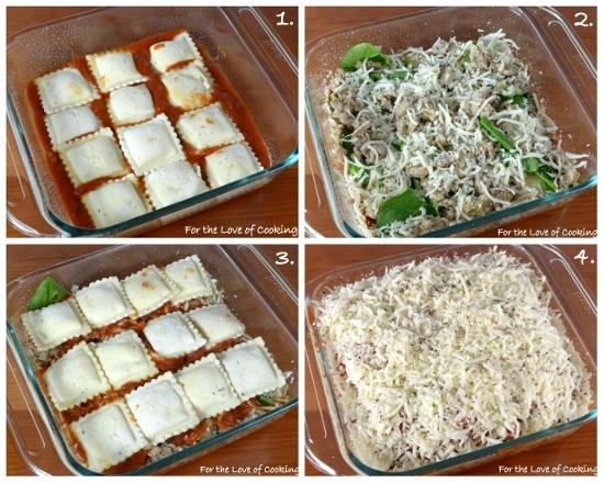 Ravioli Lasagna with Chicken Italian Sausage and Spinach