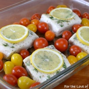 Roasted Halibut with Tomatoes, Lemon, and Dill