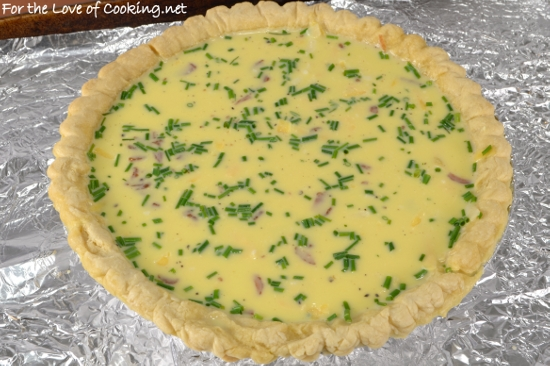 Bacon, Sharp Cheddar, and Chive Quiche | For the Love of Cooking