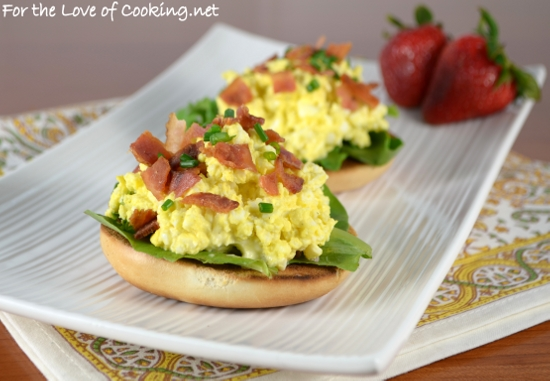 Open faced egg salad sandwich with bacon and chives for the love open faced egg salad sandwich with bacon and chives forumfinder Image collections