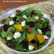 Roasted Beet Salad with Spinach, Feta, and Toasted Pecans