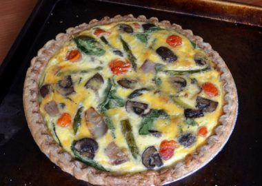 Roasted Vegetable Quiche with Spinach and Sharp Cheddar