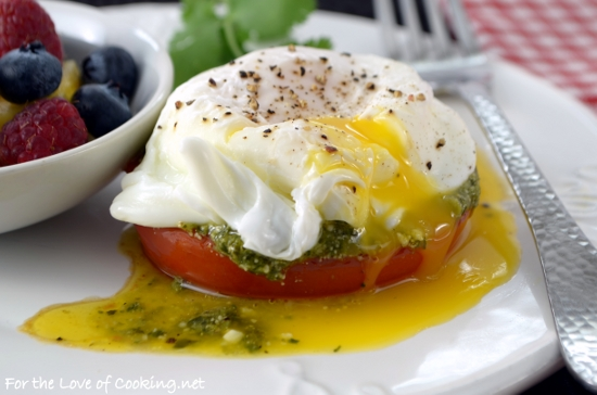 Poached Egg with Tomato and Pesto