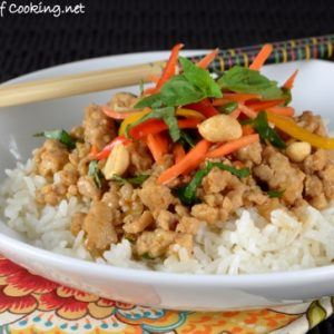 Thai Basil Chicken Rice Bowl with Lemongrass Coconut Rice