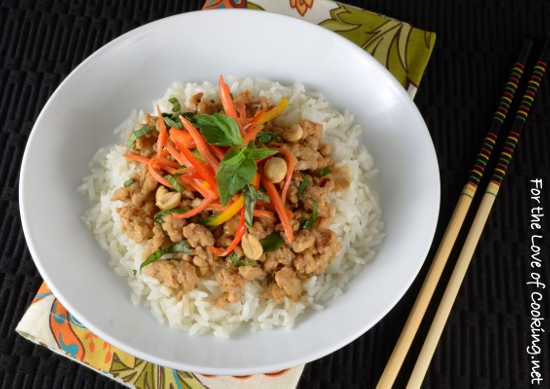 Thai Basil Chicken Rice Bowl with Lemongrass Coconut Rice ...