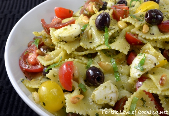 Pesto Pasta Salad with Heirloom Tomatoes, Mozzarella, and Olives