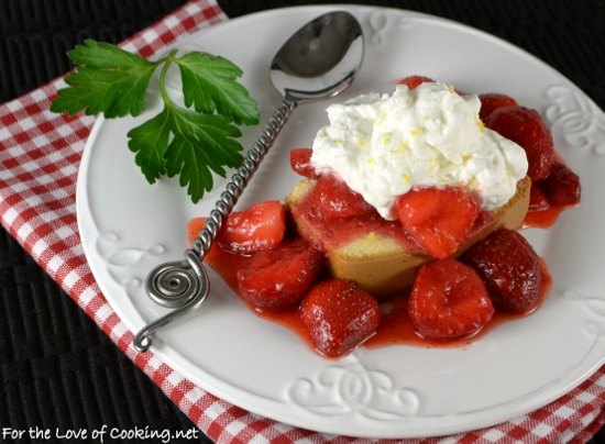 Strawberry Topped Pound Cake with Lemon Whipped Cream