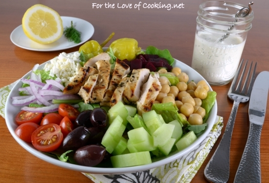 Greek Salad with Lemon-Herb Grilled Chicken and Creamy ...