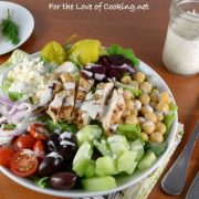 Greek Salad with Lemon-Herb Grilled Chicken and Creamy Greek Dressing