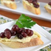 Roasted Grape and Brie Crostini